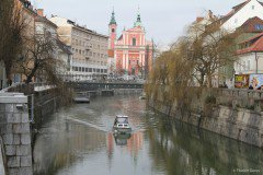 River Ljubljanica and the Church of the Annunciation, Ljubljana