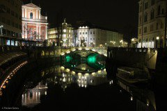 River Ljubljanica and the Church of the Annunciation at night, Ljubljana