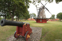 Windmill and cannon at the Copenhagen Citadel (Kastellet)