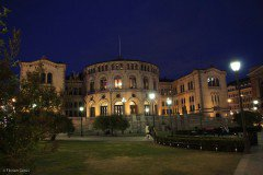 Stortinget (Norway Parliament) at night, Oslo
