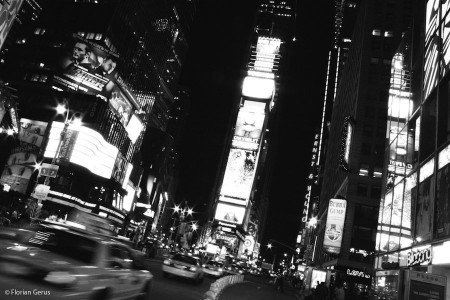 Times Square in black and white, New York City